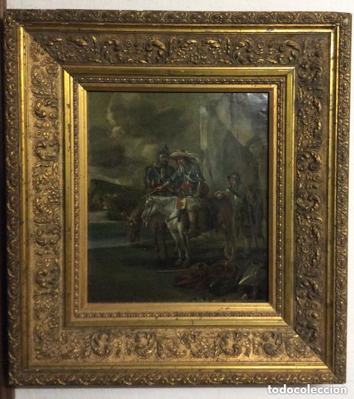 D.QUIXOTE DE LA MANCHA,ÓLEO SOBRE PLANCHA DE COBRE CON ESCENA DEL QUIJOTE,FINALES DEL SIGLO XVIII (Arte - Pintura - Pintura al Óleo Antigua siglo XVIII)