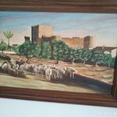 Arte: PASTOR CON OVEJAS CASTILLO 68X48 CM OLEO FIRMADO POR PALAPO 77 DESCONOZCO LUGAR. Lote 211577102
