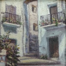 Art: OLEO SOBRE TABLA DEL PINTOR VALENCIANO ALFONSO MANUEL CALLE DE PEÑISCOLA ENMARCADO DE CALIDAD. Lote 211676740