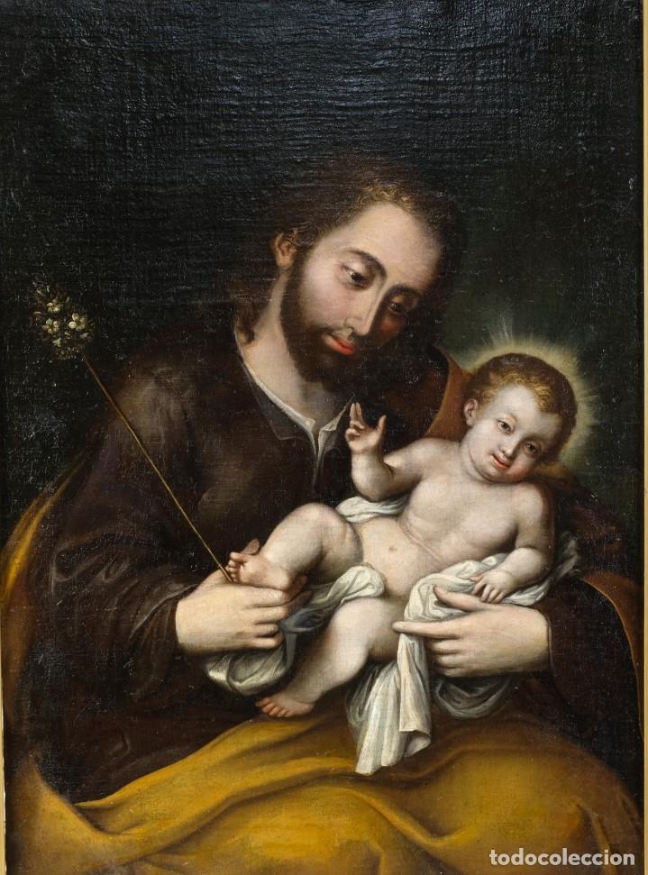 SAN JOSÉ CON EL NIÑO ESCUELA MEJICANA SIGLO XVIII (Arte - Pintura - Pintura al Óleo Antigua siglo XVIII)