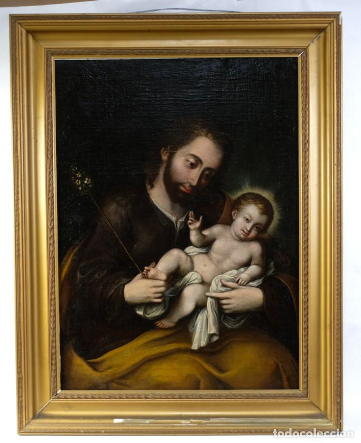 Arte: San José con el niño Escuela mejicana siglo XVIII - Foto 2 - 211721891