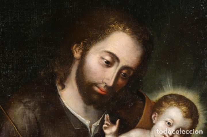 Arte: San José con el niño Escuela mejicana siglo XVIII - Foto 3 - 211721891