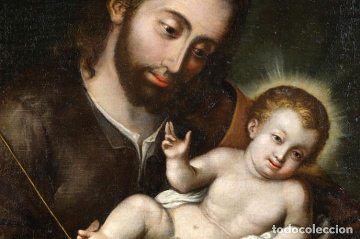 Arte: San José con el niño Escuela mejicana siglo XVIII - Foto 4 - 211721891