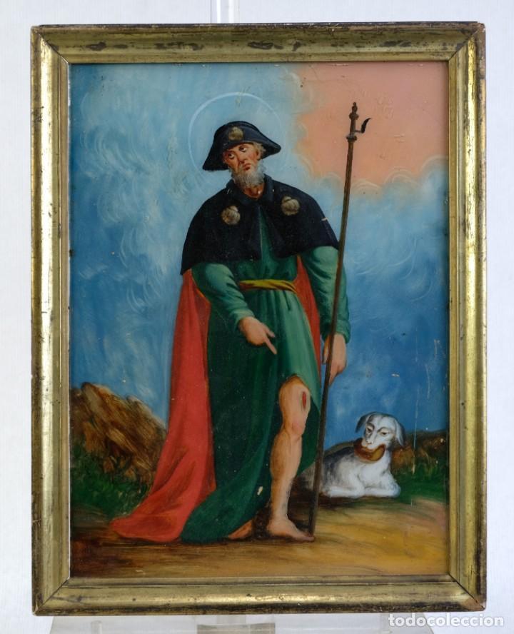 CRISTAL PINTADO SAN ROQUE SIGLO XVIII (Arte - Pintura - Pintura al Óleo Antigua siglo XVIII)