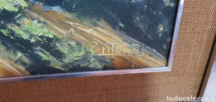 Arte: Bonito cuadro al oleo sobre lienzo paisaje pueblo con casas blancas y castillo. Firmado brito 77 - Foto 2 - 211731704