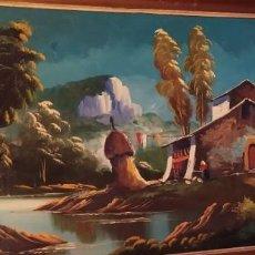 Arte: GRAN ÓLEO SOBRE TABLA ESCENA BOSQUE CASA PAJAR HOLANDESA? PRECIOSO. Lote 211985305