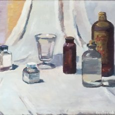 Arte: ÀNGEL CODINACH I CAMPLLONC (OLOT, 1922-1995) - BODEGÓN DE VIDRIOS.OLEO/TABLA.FIRMADO.. Lote 212004343