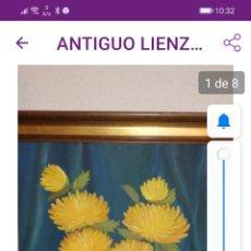 Arte: CUADRO VINTAGE LIENZO ENMARCADO BODEGÓN CON FLORES SOBRE FONDO AZUL.. Lote 212054626