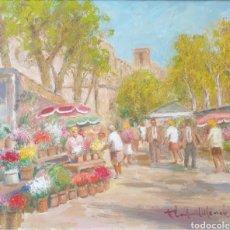 Arte: FRANCISCO CARBONELL MASSABÉ (BARCELONA1928) - LAS RAMBLAS DE LAS FLORES,BARCELONA.OLEO/TELA.FIRMADO.. Lote 212173980