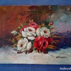 Arte: FRANCESC OLIVER FRADERA, RAMO DE FLORES, OLEO SOBRE TABLEX, FIRMADO OLIVER (16 X 12 CM). Lote 212207678