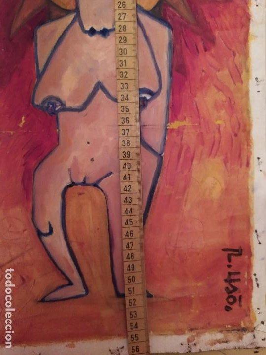 Arte: ÓLEO SOBRE LIENZO MODERN ART? FIRMADO R LISO? R USO? UNICO RARO MUJER DESNUDA INCA? SOL SIN BASTIDOR - Foto 4 - 212207692