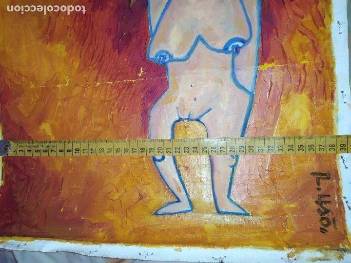 Arte: ÓLEO SOBRE LIENZO MODERN ART? FIRMADO R LISO? R USO? UNICO RARO MUJER DESNUDA INCA? SOL SIN BASTIDOR - Foto 13 - 212207692