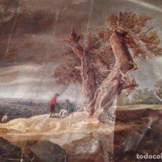 Arte: ÓLEO SOBRE LIENZO SIN BASTIDOR RESTAURAR PAISAJE ÁRBOLES HOMBRES OLIVOS PRECIOSO ANTIGUO. Lote 212211935