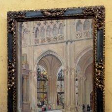 Arte: CUADRO INTERIOR CATEDRAL DE BURGOS DE F, HURTADO SANCHIS AÑO 1936. Lote 212253908