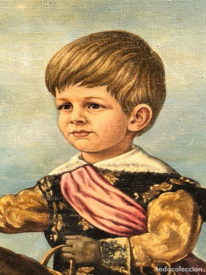 Arte: Precioso óleo sobre lienzo, infante sobre caballo - Foto 2 - 212303312