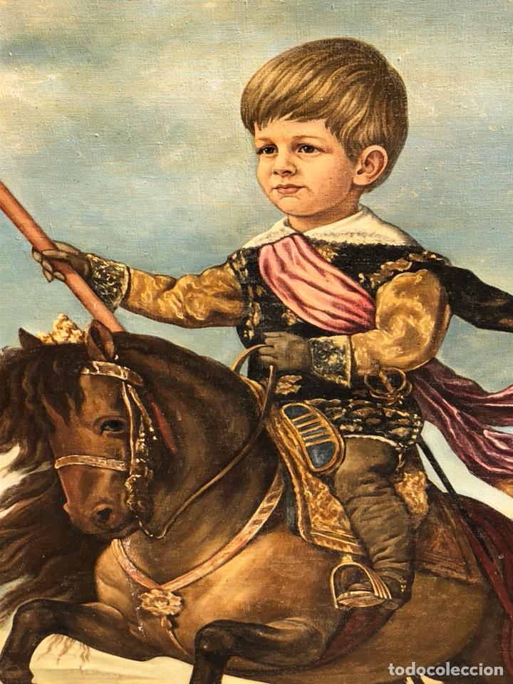 Arte: Precioso óleo sobre lienzo, infante sobre caballo - Foto 3 - 212303312