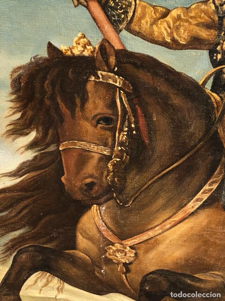 Arte: Precioso óleo sobre lienzo, infante sobre caballo - Foto 4 - 212303312