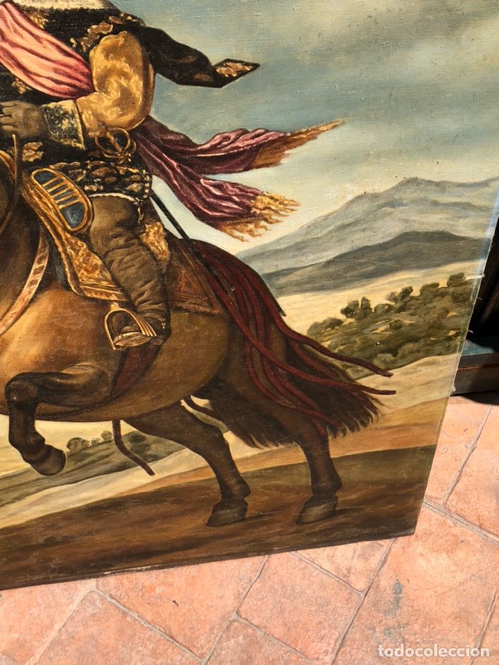 Arte: Precioso óleo sobre lienzo, infante sobre caballo - Foto 5 - 212303312