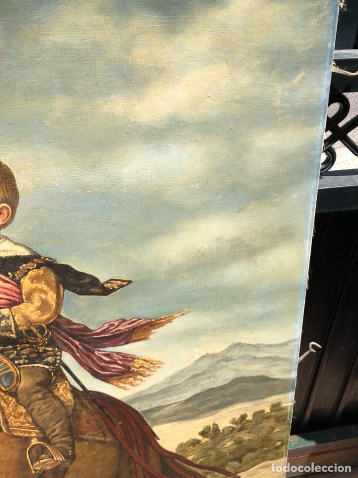 Arte: Precioso óleo sobre lienzo, infante sobre caballo - Foto 6 - 212303312