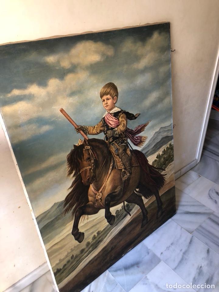 Arte: Precioso óleo sobre lienzo, infante sobre caballo - Foto 8 - 212303312