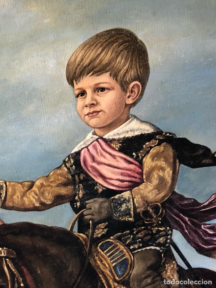 Arte: Precioso óleo sobre lienzo, infante sobre caballo - Foto 9 - 212303312