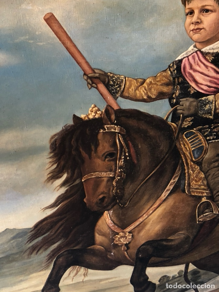 Arte: Precioso óleo sobre lienzo, infante sobre caballo - Foto 10 - 212303312