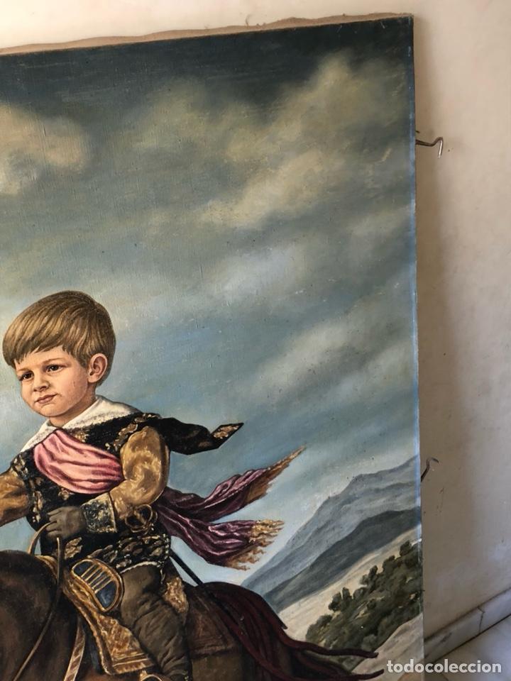 Arte: Precioso óleo sobre lienzo, infante sobre caballo - Foto 13 - 212303312