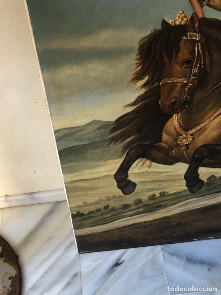 Arte: Precioso óleo sobre lienzo, infante sobre caballo - Foto 14 - 212303312