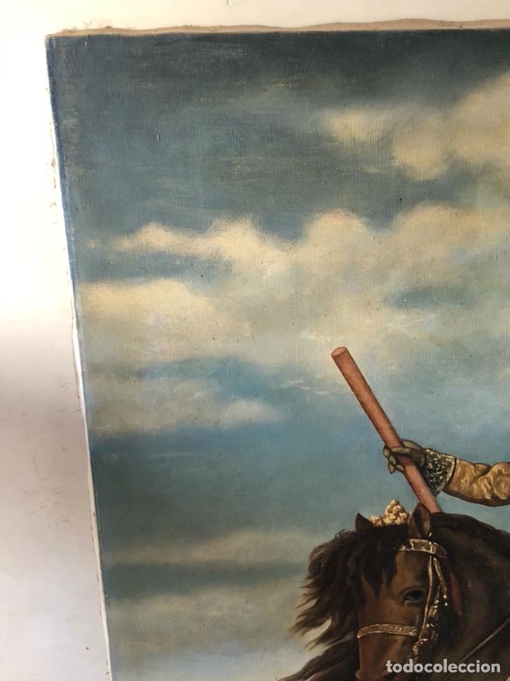 Arte: Precioso óleo sobre lienzo, infante sobre caballo - Foto 15 - 212303312