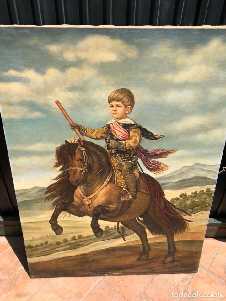 PRECIOSO ÓLEO SOBRE LIENZO, INFANTE SOBRE CABALLO (Arte - Pintura - Pintura al Óleo Moderna siglo XIX)
