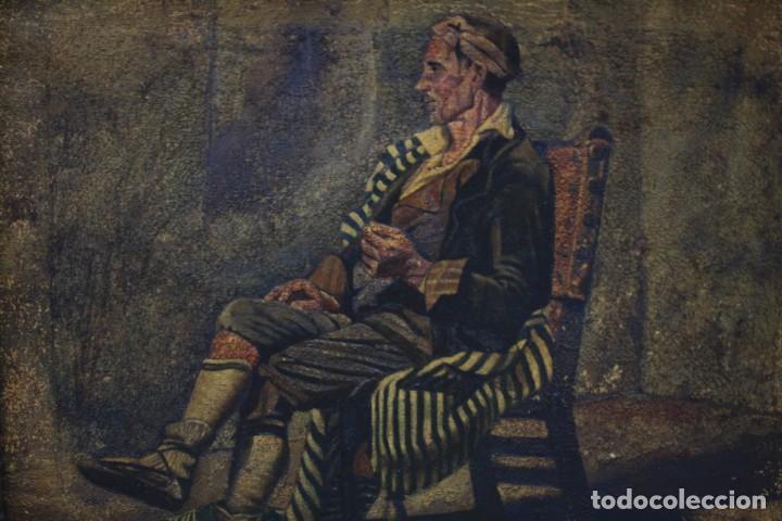 Arte: Retrato costumbrista posiblemente del norte de España, pintura al óleo sobre tela, firma ilegible. - Foto 2 - 212351267