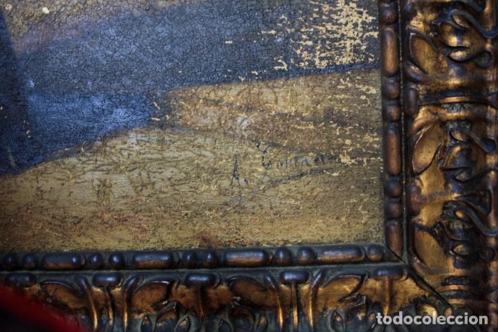 Arte: Retrato costumbrista posiblemente del norte de España, pintura al óleo sobre tela, firma ilegible. - Foto 3 - 212351267