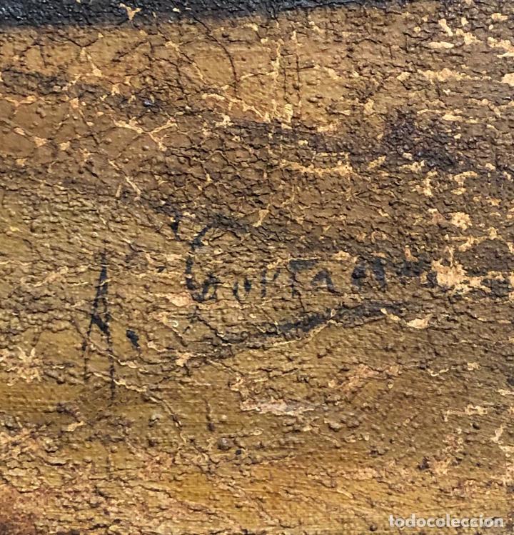 Arte: Retrato costumbrista posiblemente del norte de España, pintura al óleo sobre tela, firma ilegible. - Foto 4 - 212351267