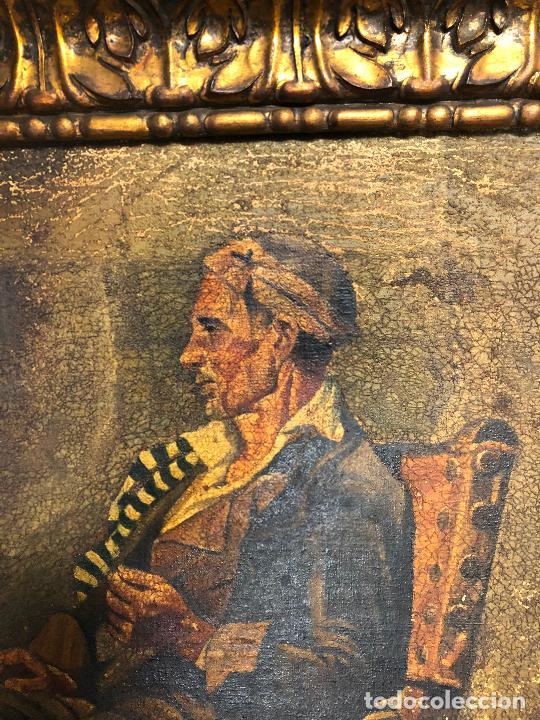 Arte: Retrato costumbrista posiblemente del norte de España, pintura al óleo sobre tela, firma ilegible. - Foto 6 - 212351267