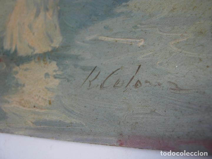 Arte: Interesante y bella pintura antigua firmada - oleo escuela Sorolla - luz mediterranea Valencia - Foto 4 - 180417401