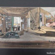 Arte: MAMPASO, MANUEL (A CORUÑA, 1924 - 2001). TE Y SIMPATIA. TÉCNICA MIXTA SOBRE CARTULINA.. Lote 212594018