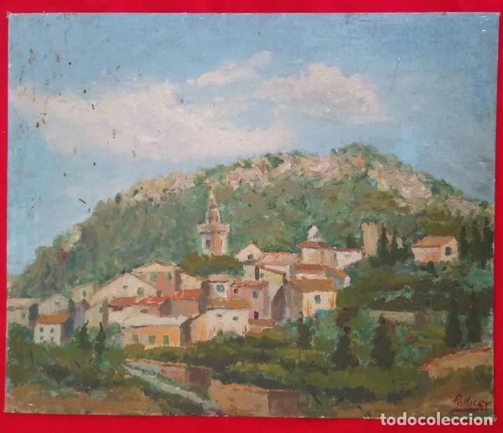 Arte: VALLDEMOSSA (Mallorca) - ÓLEO SOBRE CARTON - FIRMA: PALLICER- 46 cm x 38 cm ( 8 F) - - Foto 2 - 212605220