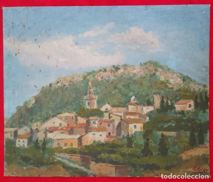 Arte: VALLDEMOSSA (Mallorca) - ÓLEO SOBRE CARTON - FIRMA: PALLICER- 46 cm x 38 cm ( 8 F) - - Foto 5 - 212605220