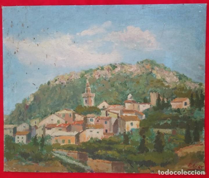 Arte: VALLDEMOSSA (Mallorca) - ÓLEO SOBRE CARTON - FIRMA: PALLICER- 46 cm x 38 cm ( 8 F) - - Foto 6 - 212605220