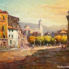 Arte: PERE COLLDECARRERA (OLOT, 1932 - 2020) OLEO SOBRE TELA. VISTA DE UN PUEBLO. 54 X 65 CM.. Lote 212615532