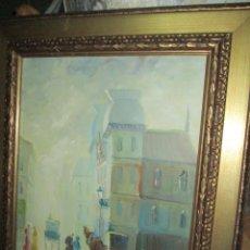Arte: ANTIGUA PINTURA EN LIENZO OLEO PERSONAJES EN CALLE FIRMADO. Lote 212676055