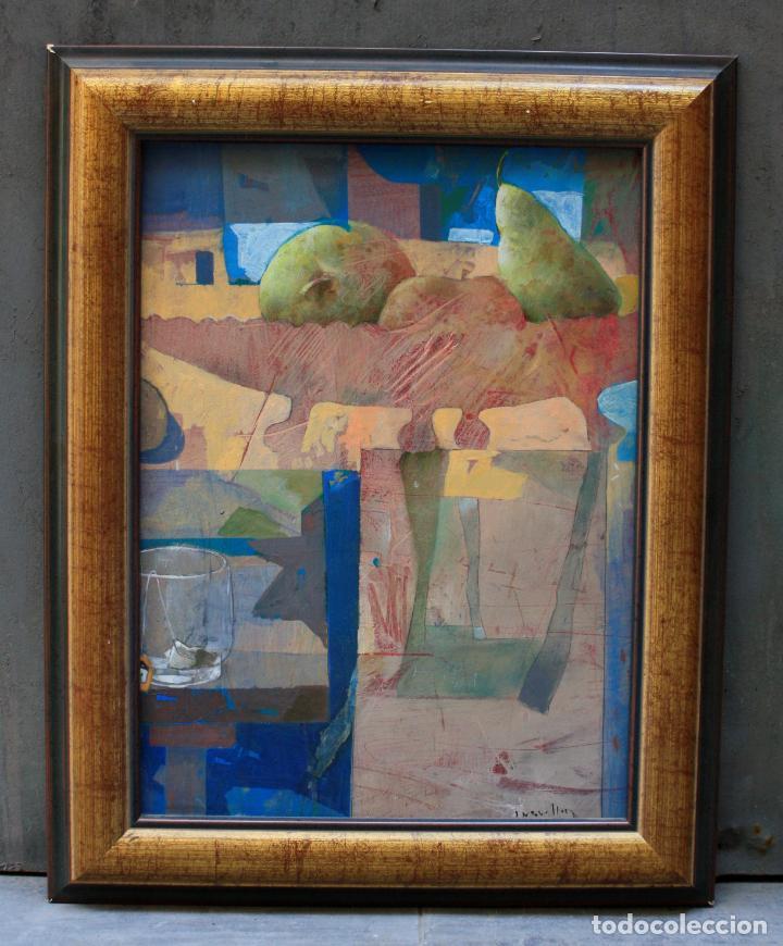 BODEGÓN, TÉCNICA MIXTA, FIRMA ILEGIBLE, CON MARCO. 47X35CM (Arte - Pintura - Pintura al Óleo Contemporánea )