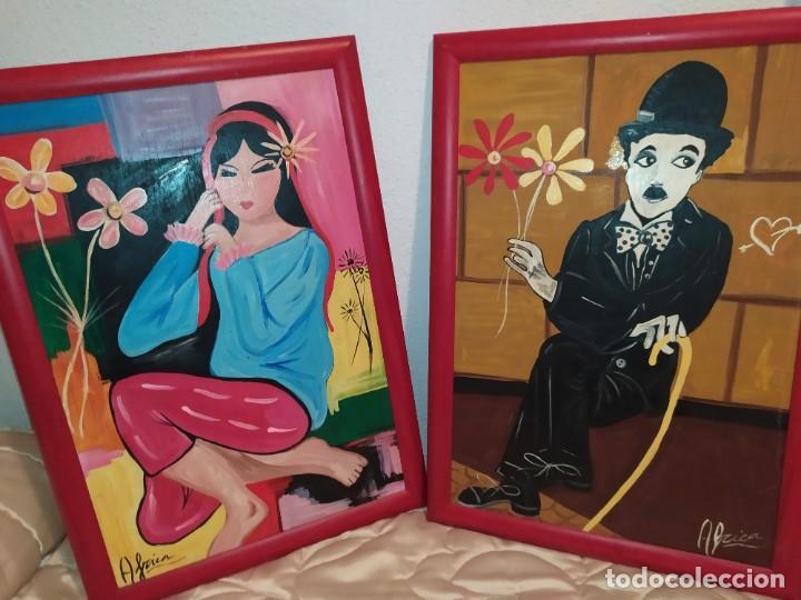 LOTE OLEO SOBRE TABLA CHICA GUAPA GEISA CHARLES CHAPLIN ENMARCADO FIRMADOS ÁFRICA PRECIOSOS (Arte - Pintura - Pintura al Óleo Moderna sin fecha definida)