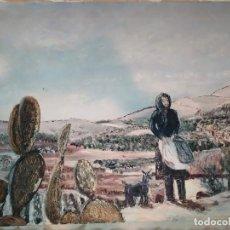 Arte: ÓLEO LIENZO PAISAJE ALTEA LA VIEJA DEDICADO 1978 FIRMADO LLINARES. TONI ANTONIO? FAMOSO PUEBLO VALLE. Lote 212736723