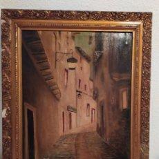 Arte: ÓLEO SOBRE LIENZO FIRMADO V. PALOMARES CALLE PUEBLO OSCURA NOCHE PRECIOSO. Lote 212737291