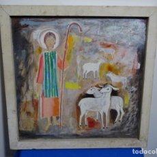 Arte: EXCELENTE ÓLEO-TEMPLE ANÓNIMO SOBRE MADERA.PASTOR CON OVEJAS.. Lote 212769471