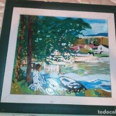Arte: ÓLEO SOBRE TABLA FIRMADO ÁLVARO DOMÍNGUEZ 1998 EN LA ORILLA CLAUDE MONET REPRODUCCIÓN. Lote 212811335