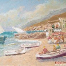 Arte: FRANCISCO CARBONELL MASSABÉ (BARCELONA, 1928) - PLAYA DE LEVANTE.OLEO/TELA.FIRMADO.TITULADO.. Lote 212829210