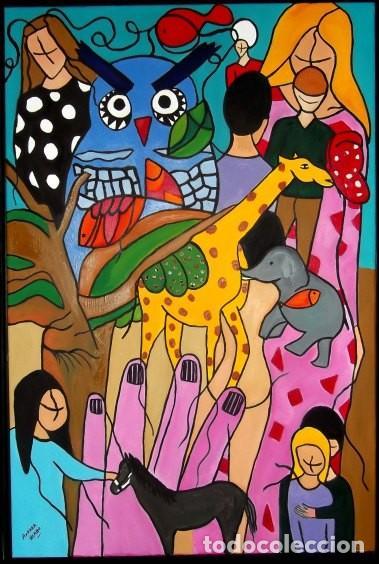 ALGARABÍA. TÉCNICA MIXTA SOBRE LIENZO DE 92 X 62 CM ENMARCADO (Arte - Pintura - Pintura al Óleo Moderna sin fecha definida)