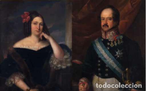 CARDERERA Y SOLANO, VALENTÍN (1796-1880) RETRATOS DE LOS MARQUESES DE MALPICA (FERNÁNDEZ DE CÓRDOBA) (Arte - Pintura - Pintura al Óleo Moderna siglo XIX)